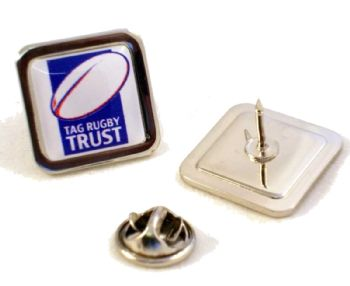 Superior Badge 16mm square silv clutch and printed dome